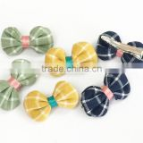 Wholesale alligator hair clips in fabric and ribbon bow tie with fashion fabric flower with crystal stone