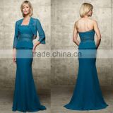 3/4 sleeve strapless appliqued beaded chiffon custom-made mother of the bride dresses CWFam4584
