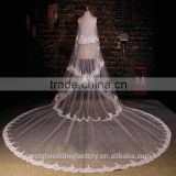 2015 wholesale long flower cathedral wedding veils accessories four layers 5 meters long and 3 meters width with comb LV10