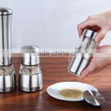 3pcs stainless steel seasoning container Manual Stainless Steel Pepper Mill with Ceramic Grinder