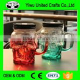Skull shape glass mason jar with handle
