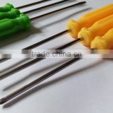 yellow&green plastic magnetic handle cheap screwdriver small tools used for dismantling of small electronic equipment