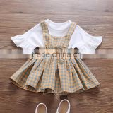 Two piece set female baby strap skirt baby white short sleeve T shirt little girl suit clothes