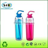 Personalized wholesale double wall transparent acrylic plastic sippy mug tumbler with straw and lid