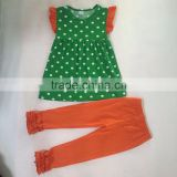 trendy polka dots icing ruffle kids cotton clothing sets