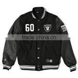 Customized varsity jacket with leather sleeve men