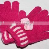 2014 Winter fashion pink girls' beauty colorful acrylic gloves with flowers GCA-001
