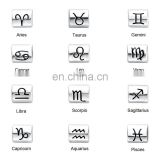China wholesale fashion silver finish 8mm*10mm zodiac sign charm beads for bracelet making