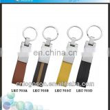 Novelty logoson custom shape metal handmade leather keychain