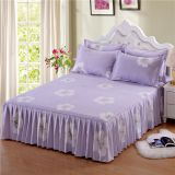 3pcs Floral Fitted bed Sheet Graceful Bedspread Lace Fitted Sheet Bed Cover Skirt Wedding Housewarming Gift