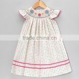 Nice sewing Cotton Chevron Smocked Flower Baby Girls Bishop Dress                                                                         Quality Choice
