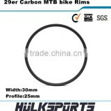 Cheap 29er mtb carbon rims wheels tubeless 30mm width mountain bike carbon rims 3K/UD hookless 29 carbon rim