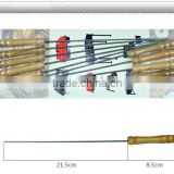 12PCS stainless steel bbq tool set barbecue skewers with wood handle