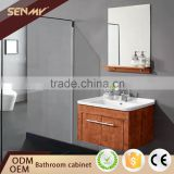 Wood Base Wall Mounted Corner Mirror Cabinet 40 Inch Bathroom Vanity