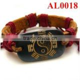 2012 red cord braid leather bracelet with carved devine patterns ox bone AL0018