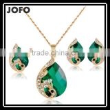 Fashion Multicolor Optional Austria Crystal Water drop Leaves Earrings Necklace Ring Jewelry Sets Classic Jewelry Sets
