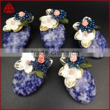 Fashion handmade wire wrap oval sodalite jasper & white shell flower blue crystal beads brooch
