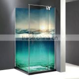 2016 new prefab shower enclosures ocean sunrise 3D digital printing glass Frameless and accessories available villa shower room