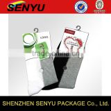custom logo printing, fancy socks paper rider packaging labels with plastic hook                                                                                                         Supplier's Choice