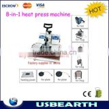 Low cost 8 in 1 heat press machine for Tshirt /Mug/Cap/Plate, better than screen printing