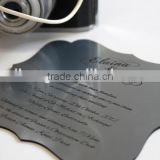 New arrival attractive black mirrored acrylic wedding invitations with silk screen printing