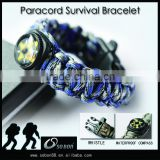 new products custom mens braided rope outdoor survival bracelets with compass and whistle