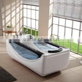 one person acrylic free standing with glass window massage bathtub