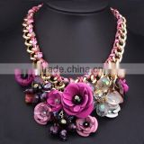 "Best Selling Fashion"" Trendy colorful chunky flower statement necklace/                                                                         Quality Choice"