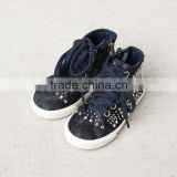 DB2963 dave bella 2015 autumn infant denim shoes baby rivet shoes baby jeans shoes bow baby cool rock shoes