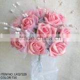 9.5 inch Light pink Artificial Silk Flowers Rose with glitter covered Wedding Bridal Bouquet