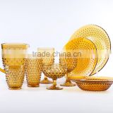 popular press drinkware/wine goblet,hiball, tumbler,pitcher, color glass in amber and dinnerware with hobnail embossed patern