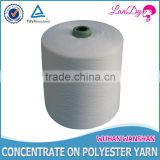 close virgin 42s/2 raw white high tenacity polyester yarn for knitting and weaving manufacturer in china