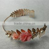 American handmade ceramic flower hair hoop pearl headband wedding banquet necessary small hairbands hair accessories FHHBC4002