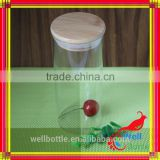 Borosilicate glass storage jar with bamboo lid for food packaging glass jars with wooden lids for jars