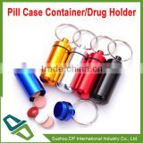 Promotion Aluminum Keychain Pill Case Pill Container Drug Holder