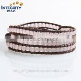 4mm pink rose quartz stone multi layer braided charm leather bracelet jewelry