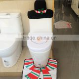 Hot sale santa toilet seat cover, rug bathroom set, christmas decoration,, toilet seat cover + foot pad + water tank cover