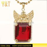 High quality women hip hop jewelry gold plated angel baby pendants design, drusy stone big stone pendant jewelry