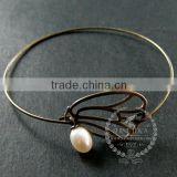 65mm diameter one end open antiqued bronze butterfly wing fresh water pearl charm wiring fashion bangle bracelet 6450048