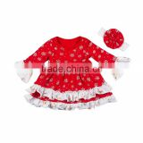 Christma Set Quality Baby Autumn Clothes Sets , Girls Boutique Dresses Outfits Plain Color Ruffle Style Long Sleeve Tops +Pants