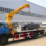 cheapest dongfeng 5 ton crane with flatbed road wrecker for sale