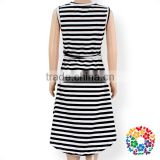 Casual Black And White Striped Baby Dress Summer Sleeveless Bow Tie Girl Long Dresses