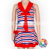 Red & Blue Stripes Print Swimwear Suspender Pattern Bikini Kids Baby Girls Mini Skirt Swimwear