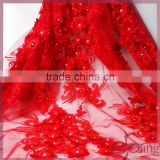 Red 3D applique designs flower embroidery mesh fabric, beaded bridal lace fabrics for wedding dress