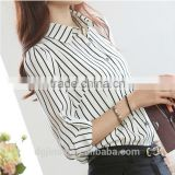 The spring autumn ladies classic black white stripe shirt joker chiffon long sleeve blouse for women