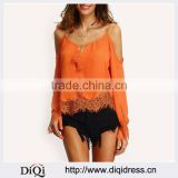 latest Summer Clothes For Women 2016 New tank Tops Womens Orange spaghetti strap Long Flare Sleeve Lace Trim Beach Blouse