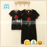 Family Look Summer Short-sleeve Dress Matching Mother And Daughter Clothes Clothing Outfits Flower black