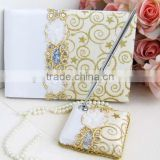 2014 Hot Sale Wedding Set of Guest Book and Pen with Sequins Wedding Favor Wedding Centerpiece with Pearl