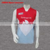 Latest color red design sleeveless wholesale youth football jersey