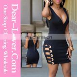 new hot fashion style black women V neck sexy loaded night club dresses